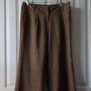 Wide Leg, Brown Plaid, Ann Taylor LOFT Trouser